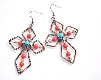 Cross Earrings Brown with Turquoise Flower and Orange Beads