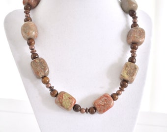 Chunky Brown Necklace, Jasper Stone Necklace
