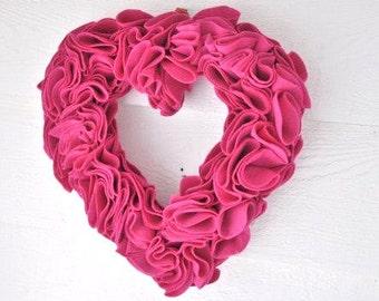 """Pink Heart Wreath, Valentine Heart Wreath,  Ruffled Felt Fuschia Sweetheart Romantic Door Hanging Heart Decor Premium Felt 14"""" Felt Heart"""