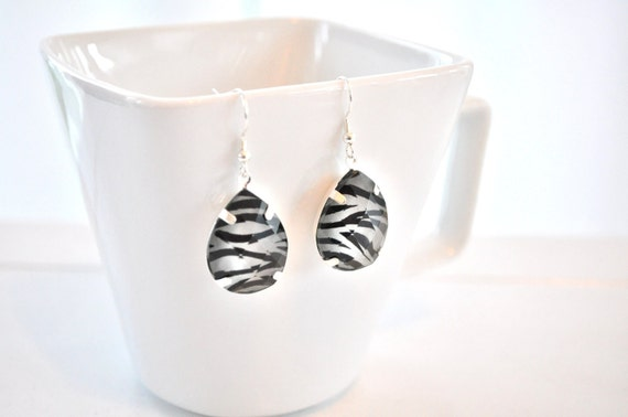 Zebra Print Earrings Silver