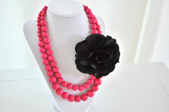Hot Pink Necklace, Wood Beads with Black Silk Flower