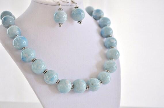 Light Sapphire Necklace Set OOAK