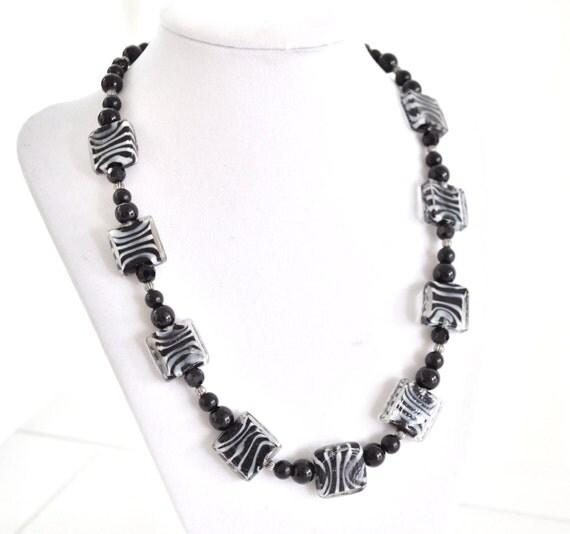 Zebra Necklace Beaded Zebra Print Animal Print Lover Black and White
