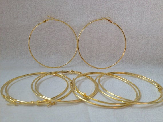 Free Ship 70mm Gold Plated Hoop Earrings Basketball Wives