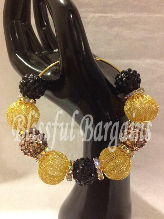 3 inch Gold Mesh & Rhinestone Resin Crystal Rondelle Beaded Hoop Earrings