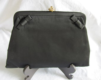 1960s Vintage Black Satin Evening Bag
