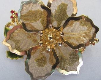 Vintage KC Poinsettia Gold Tone Brooch