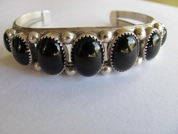 Vintage Sterling Silver and  7 Black Onyx Stone Cuff Bracelet