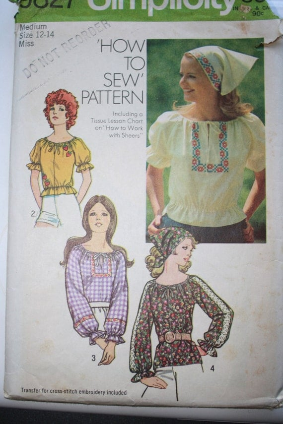 Vintage 1971 Peasant Blouse & Head Scarf Sewing Pattern Simplicity 9827