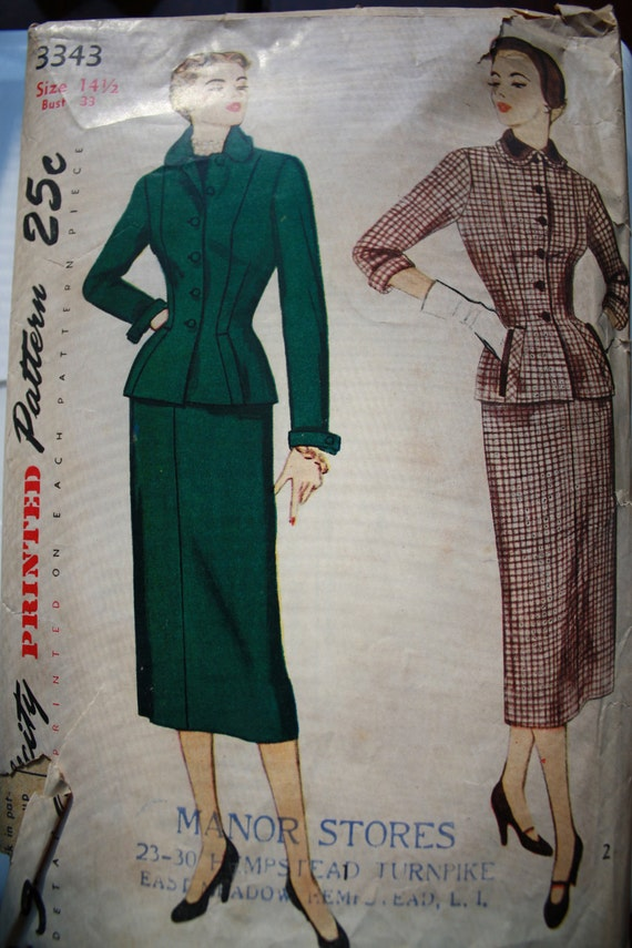 Vintage 1950 2Pc Suit Skirt with Kick Pleat Sewing Pattern Simplicity 3343