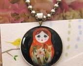 Matryoshka doll - Handmade glass necklace with silver plated brass setting and chain (G-075)
