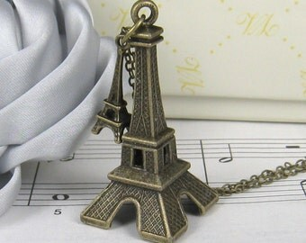Large and mini eiffel tower necklace (Long chain)