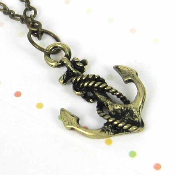 Antique brass anchor necklace (NEC-6)