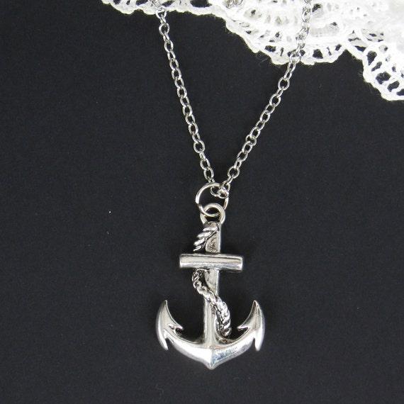 Antique silver anchor necklace (NE-051)