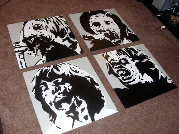 Zombie Beatles Spray paint Stencil Art on wood