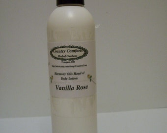 Vanilla Rose Hand & Body Lotion - Dry skin lotion, chapped skin - Spicy Rose Fragance - 8 oz bottle