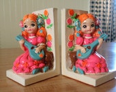 Reserved - Whimsical Vintage Bookends - Girl Playing Ukelele with a Bear