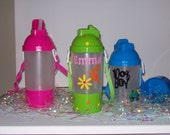 Personalized/Monagrammed Water Bottle with straw and Attached snake cup (great for on-the-go)