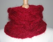 Red hand knitted cabled cowl - made to order