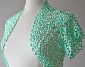 Mint green crochet bolero shrug