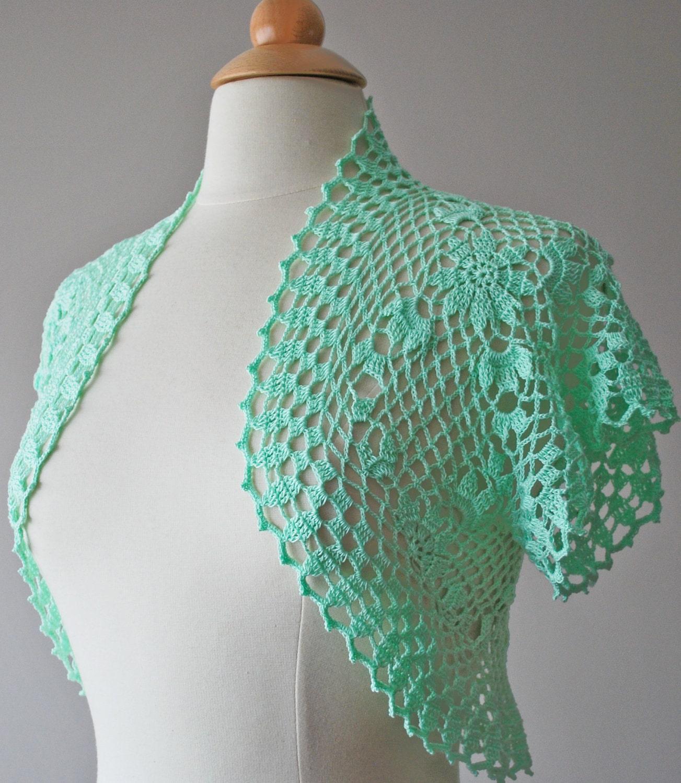 Crochet Shrug : Mint green crochet bolero Made to order by Jutula on Etsy