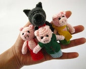 Three Little Pigs - Fairy Tale - Amigurumi - Crochet Finger Puppets Set - Finger puppets