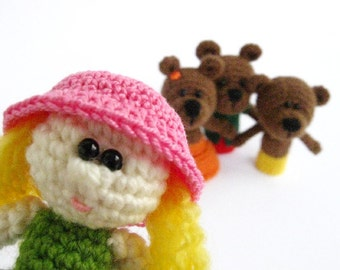 Goldilocks and three bears - Crochet finger puppets - Amigurumi - Set of finger puppets - Finger Puppets - Fairy tale