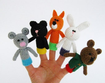 5 Finger puppets, Crochet finger puppets, Gift for children, Fairy tale, Amigurumi