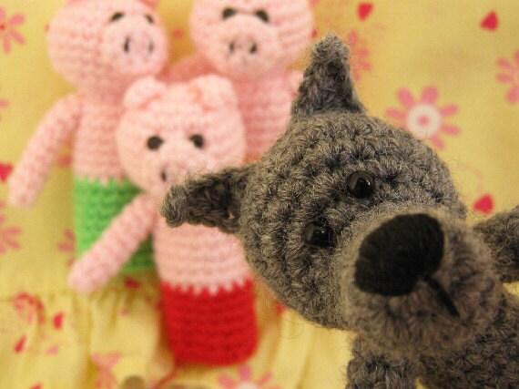 Three Little Pigs Fairy Tale Amigurumi Crochet Finger Puppets Set