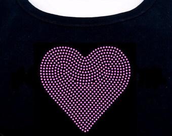 Heart RHINESTONE t-shirt tank top sweatshirt - S M L XL 2XL - Valentine's Day Bling Love