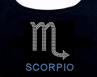Scorpio RHINESTONE t-shirt tank top sweatshirt S M L XL 2XL - Zodiac Horoscope Astrology