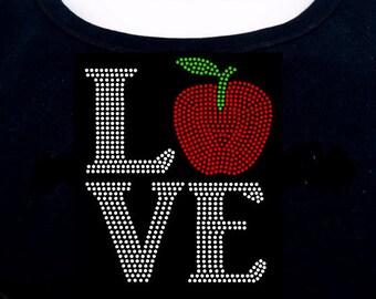 Apple Love RHINESTONE t-shirt tank top sweatshirt S M L XL 2XL - Teacher, New York City Bling