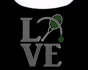 Tennis Love RHINESTONE T-Shirt or tank top S M L XL 2XL - Badmitton Racquet Ball Sport Sports
