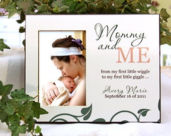"Personalized Photo Frame for New Baby, New Mom - ""Mommy and Me"" : Add Name & Birthday"