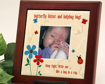 """Personalized Framed Tile for Baby """"Butterfly Kisses and Ladybug Hugs"""" :  Add Your Baby's Photo"""