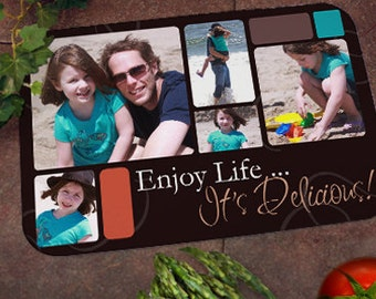 """Personalized Glass Cutting Board : """"Enjoy Life"""" Design with Your Personal Photos"""