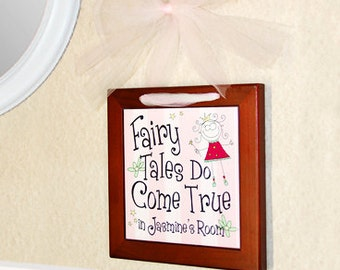 "Personalized Name Hanging Wall Tile Plaque ""Fairy Tales Do Come True"" : Cute Decoration for Little Girl's Room"