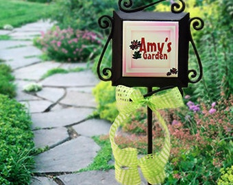 Garden Marker Metal Stake - Personalize with Any Name or Saying - Includes Cute Ribbon Accent