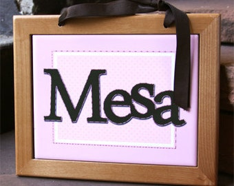 Pink and Brown Personalized Wall Hanging : Framed Name Tile Decoration for Your Baby's Nursery or Child's Room