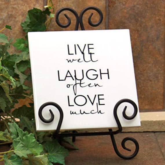 LIVE - LAUGH - LOVE Ceramic Tile with Stand