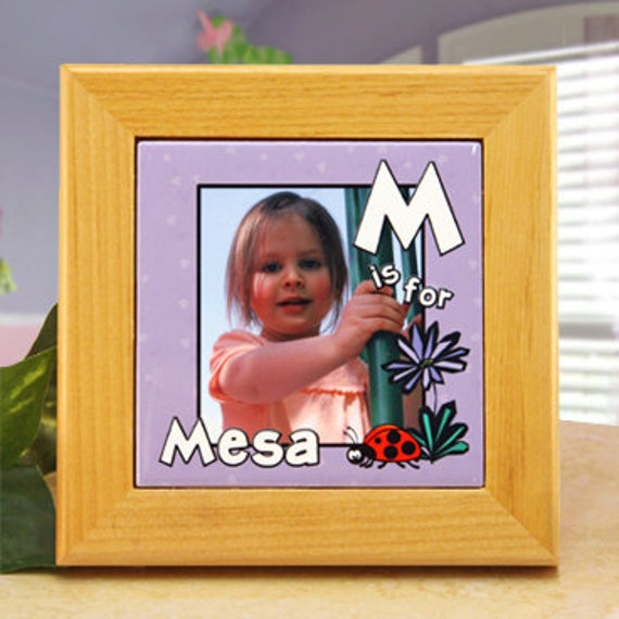 """Personalized Alphabet Plaque for Little Girl's Room """"A is for ..."""" with Ladybug and Flowers : Add Photo, Name, and Initial"""