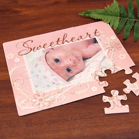 """Photo Puzzle : Pink """"Sweetheart"""" Design with Your Photo"""
