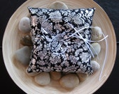 Recycled fabric ring pillow in black and silver floral pattern