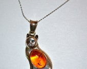Vintage 1960's Cat PENDANT with Amber Stone, Collectable Item, Lowest Sale Price Plus Free USA Shipping