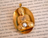 Vintage Buddha Pendant in Antique Gold Tone plus a Pearl, Namaste Pendant, FREE U S A Shipping