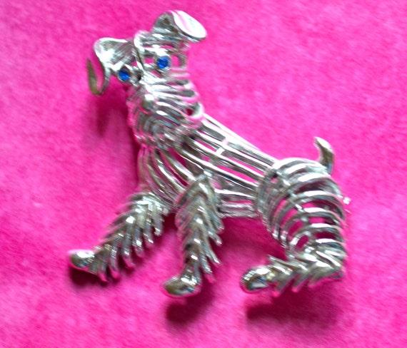 Filigre Dog Brooch in Silver Tone, Vintage Accessory, Half Off Sale plus Free U S A Shipping
