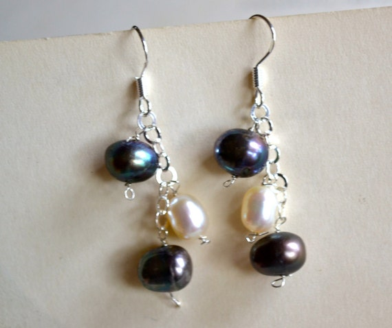 Pearls Earrings, Black and White, Sterling SIlver, Stamped .925, Clearance Sale, Item No. S175