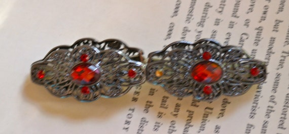 Silver Tone Bracelet with Large Red Rhinestones, Vintage Bracelet, Half Off Sale plus Free USA Shipping