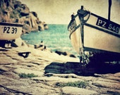 The Cornish Boats Await - soft aqua, blues, pale golden yellows and browns - 8x8 print