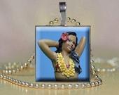 Hula Girl  Photo Glass Tile Pendant